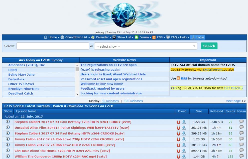 EZTV Proxy/Mirror Sites