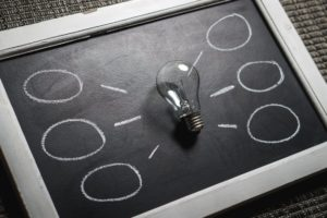 A lightbulb on a blackboard surrounded by empty thought bubbles.