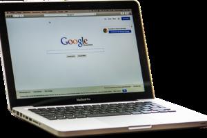Google page on a laptop.
