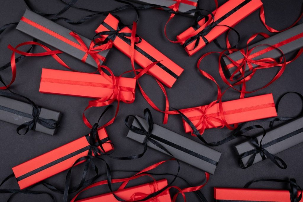 Black and red gift boxes.